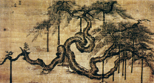 Vieux pin de l'autel Sajik, Jeong Seon (1676-1759), encre et couleurs légères sur soie © Korea University Museum
