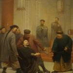 """Saint Jean-Gabriel Perboyre contraint à piétiner un crucifix lors de son jugement à Wuchang en 1839. Archives de la Congrégation de la Mission (Lazaristes), Paris."""""""